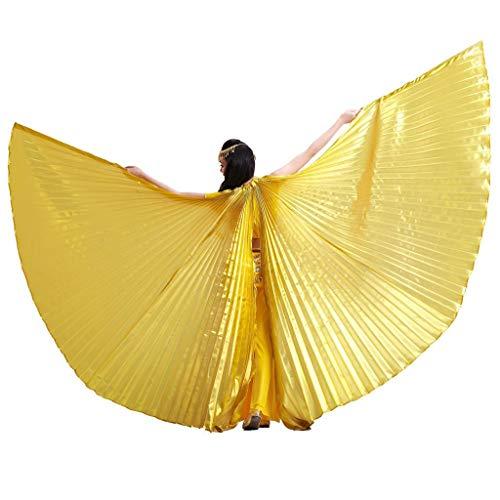 Wuchieal Öffnung Bauchtänzerin Isis Flügel Dancing Requisiten Kostüm mit Stöcke Tasche (Gold, One Size)