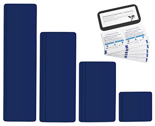 Selbstklebende Planenreparatur Tapes | 10 teilig | Easy Patch Comfort 100mm | Für Zelte, Planen uvm. | Saphirblau RAL 5003
