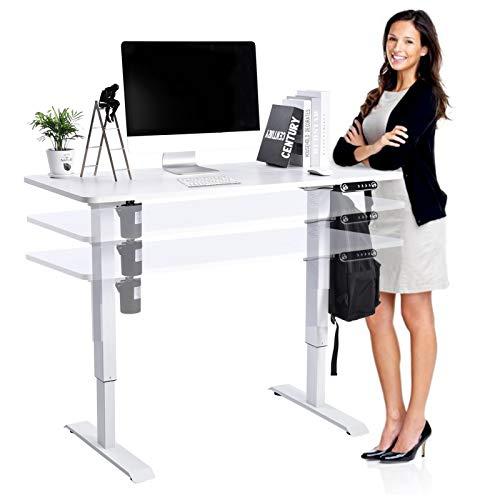 Höhenverstellbarer Schreibtisch Elektrisch, 140x60cm, Ergonomischer Steh-Sitz-Schreibtisch Mit Memory Steuerung, Max Belastung bis 80kg (Weiß)