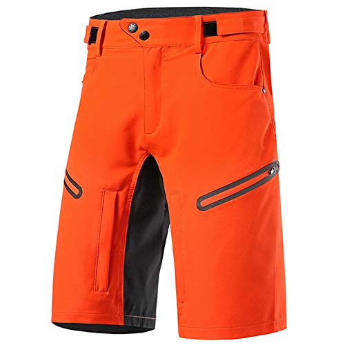 Loose Fit Cycling Shorts Men, MTB Mountain Bike Shorts Waterproof Outdoor Sports Shorts Breathable Quick-Drying with Zipper Pockets,Orange,L