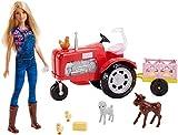 Barbie FRM18 - Bäuerin Puppe mit Traktor, abnehmbaren Anhänger und 5 Tiere, Bauernhof Puppen...