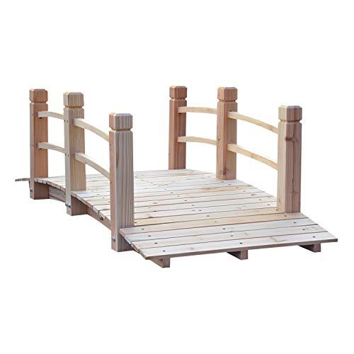 Outsunny Gartenbrücke Holzbrücke Holzsteg Teichbrücke Zierbrücke mit Geländer bis 180 kg Tannenholz Natur 152,5 x 67 x 48 cm