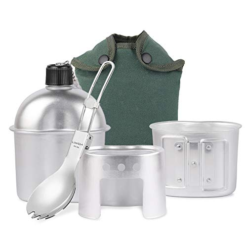 LIXADA 3ピース 調理器具セット アルミ 軍ボトル カップ 薪ストーブセット キャンプ用 カバーバッグ ハイキングバックパッキング
