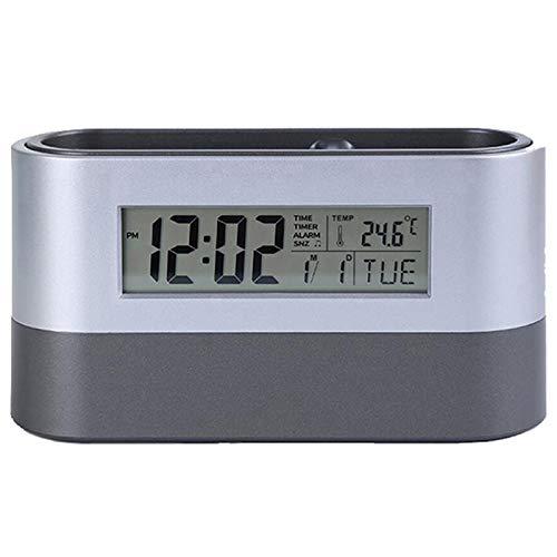 OVBBESS Oficina de almacenamiento de escritorio titular de la pluma herramientas nombre tarjeta contenedor con alarma digital temporizador calendario temperatura termómetro