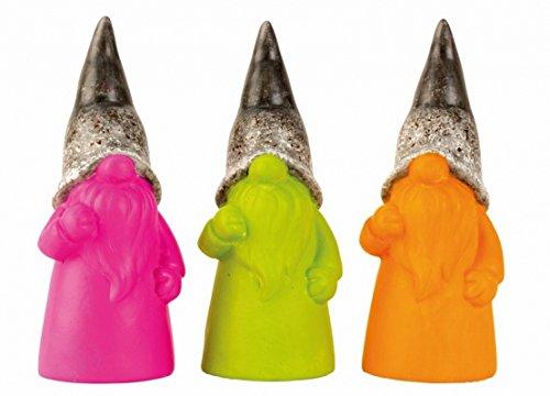 Designer Gartenzwerge Set 3tlg. Zwerge lustige Gartenfiguren für Außen, Gartenzwerg Modern Pink, Grün und Orange Gnom (3er Set, 18 cm)