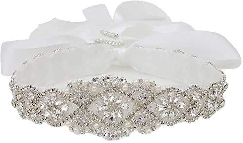 Cinturones de boda con diamantes de imitación, cristal transparente, 55,8 cm de longitud...
