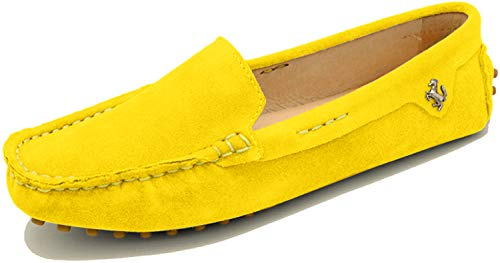 MINITOO Damen Mode Slip-on Gelb Wildleder Slipper Mokassins Beilaufig Flache Schuhe EU 40