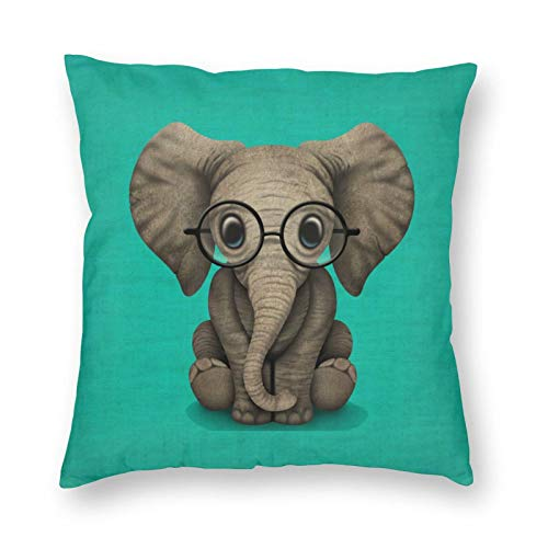 Decorative Cushion Covers with Cute Baby Elephant Calf with Reading Glasses On Blue Prints,for Sofa Office Decor Cotton and Linen Cushion Covers 20*20Inch
