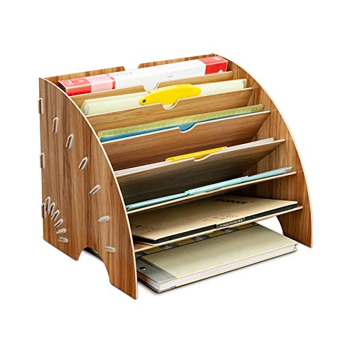 Wooden File Organizer, Wooden File Tray, Klassifikator für Desktop-Dokumente, Schreibtischregal für A4-Papier, Briefe und Zeitschriften