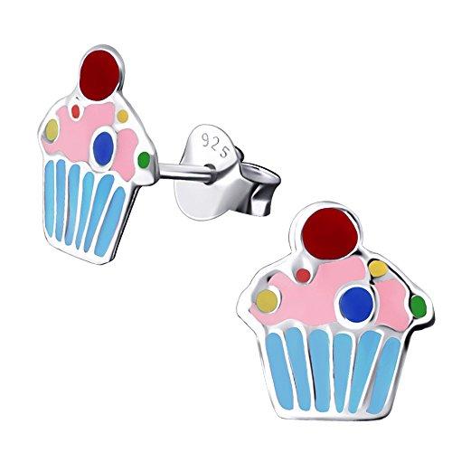Laimons Kids Orecchini a pressione per bambini gioielli per bambini Muffin colorato Argento Sterling 925
