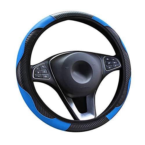 panthem Funda para volante de coche, de piel transpirable, antideslizante, banda elástica deportiva de fibra de carbono, sin anillo interior, tamaño universal 37-39 cm (azul)