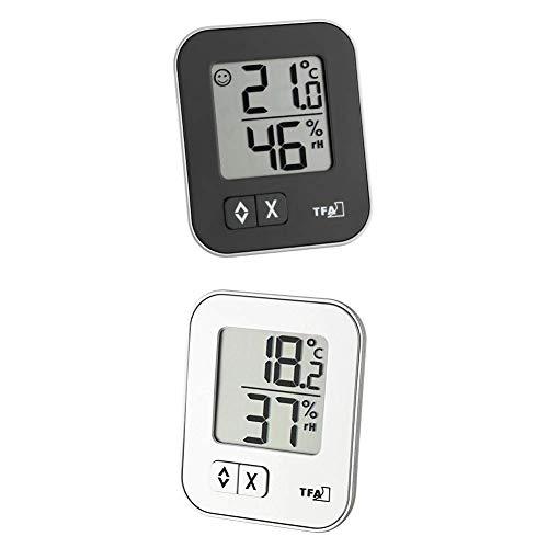 TFA Dostmann Moxx digitales Thermo-Hygrometer, 30.5026.01, zur Raumklimakontrolle, Überwachung der Luftfeuchtigkeit, klein und handlich, 2er Pack, schwarz und weiß