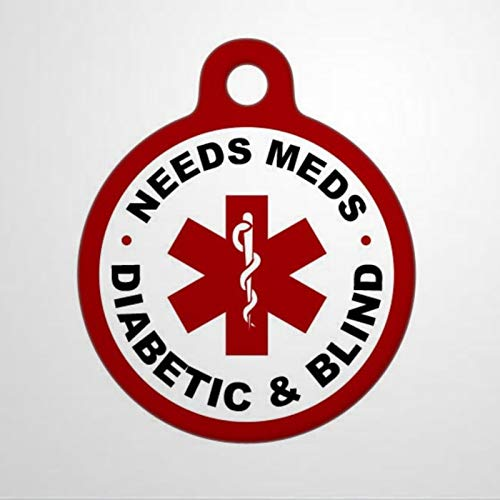 Medical Needs Meds Diabetic and Blind Alert Personalized Pet ID Tags, 1.38-1.5inch Cat Dog ID Tag & Two Sided Dog Name Tag.