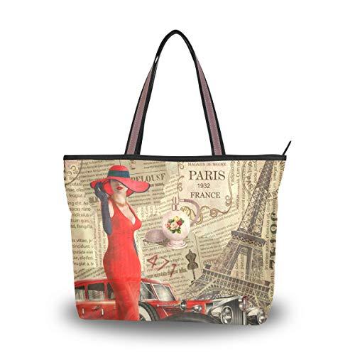 LZXO Damen Tragetasche Eiffelturm Zeitung Frau Tote Schultertasche Handtasche Reißverschluss für Arbeit Outdoor Reisen - Größe: Large