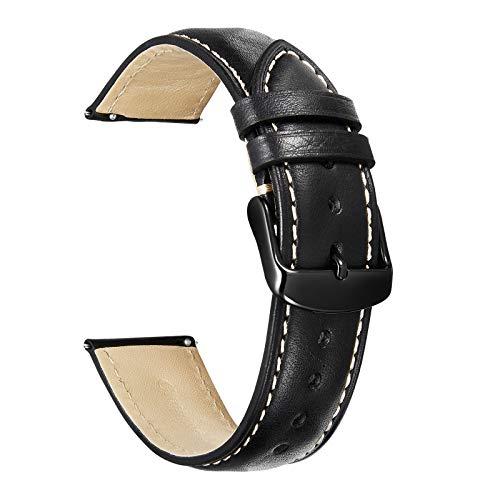 Correas De Reloj De Cuero 20mm 22mm - Correa De Repuesto para Hombres Y Mujeres - Hebilla De Acero Inoxidable - 18mm 19mm 21mm 24mm - Negro