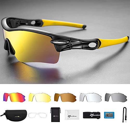 KADDGN Polarisierte Sport-Sonnenbrille Radfahren Sonnenbrillen mit 5 Austauschbare Lenes für Laufen Baseball Golf Driving,A