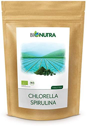 BIONUTRA® Chlorella-Spirulina-Presslinge Bio 1000 x 250 mg Tabletten, 100% rein & natürlich, rückstandskontrolliert, nach EU-ÖKO-Standard kultiviert und hergestellt, 250 g Großpackung