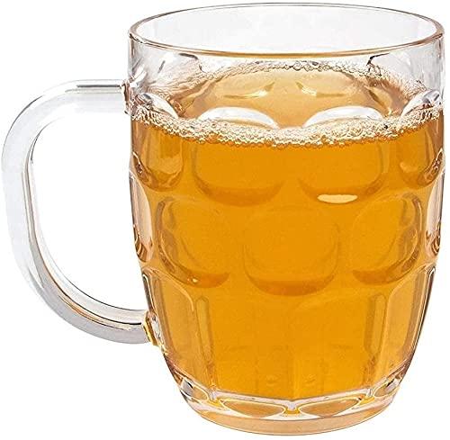 LSZ Cerveza de cristal Tazas de cerveza 500ml Taza de cerveza con hoyuelos Dibujados con punta de cerveza clara con mango grande Taza de cerveza de la cerveza de la casa de verano (juego de 2) Vasos d
