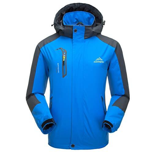 Men's Lightweight Outdoor Waterproof Jacket Hooded Sports Rain Coat Blue L