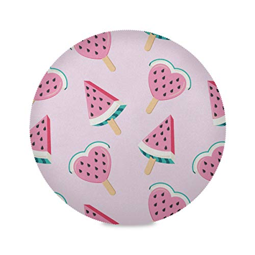 HAOLONGG Set of 4 Round Kitchen Placemats Summer Creative Fruit Watermelon Childrens Placemats Children Place Mat 15.4 Inch Easy to Clean for Kitchen Dining Table Holiday Party