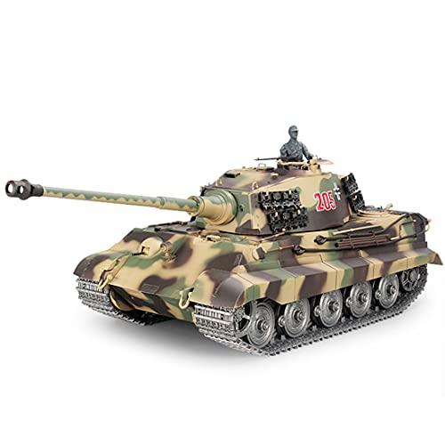 RC Panzer, Ferngesteuerter Militärpanzer Deutscher Henschel Tiger King mit Schussfunktion, 1:16 Panzer mit Rauch&Sound -2,4Ghz -V7.0 (Metall hohe Version)