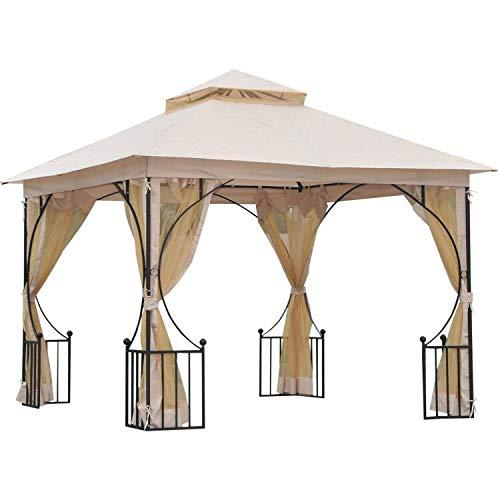 Outsunny Pavillon de Jardin tonnelle Barnum Style Colonial Double Toit Toiles moustiquaires Amovibles zippées dim. 3L x 3l x 2,75H m Beige Noir