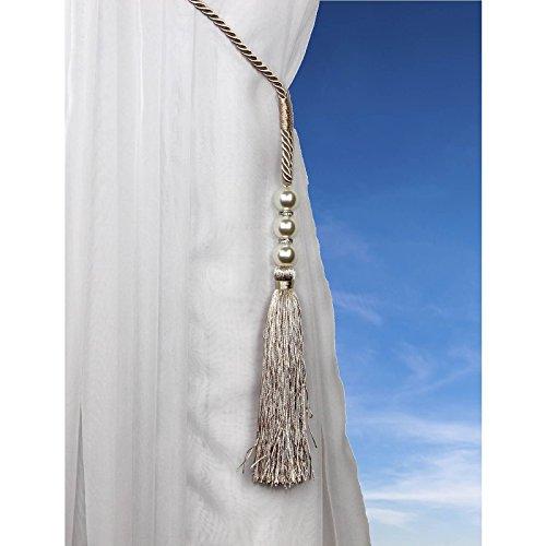 Ideal Textiles Pavo Alzapaños, Perla con Cuentas Cable Alzapaños, Cortinas De Gasa agarraderas - Crema