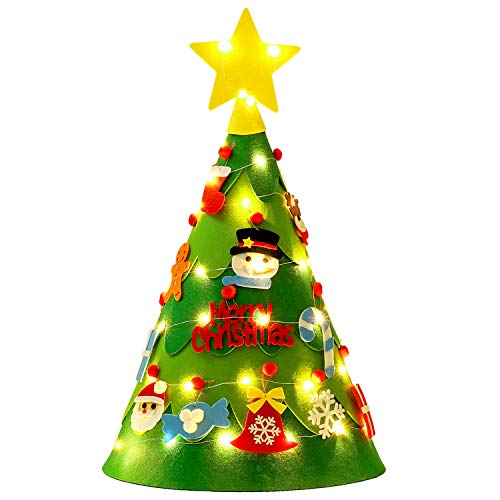 ZOYLINK DIY Albero di Natale in Feltro LED Stump Stereo Bambino Magico Conico (20 Accessori)