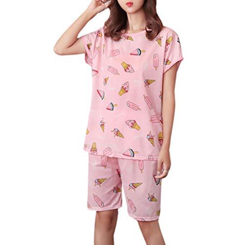 YoungerY (1 Juego Vestido con Pijama Suelto Fresco de - Manga Corta, Postre, Rosa-M