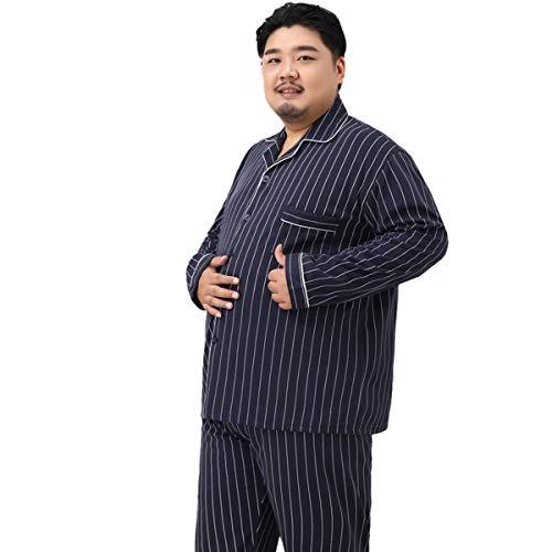 De Gran Tamaño De Los Hombres De La Solapa De Pijamas Conjunto De Manga Larga Pijamas 65% Algodón Otoño 5XL Más El Tamaño De La Grasa De Servicio De Hogar De Traje, Azul 2,4XL