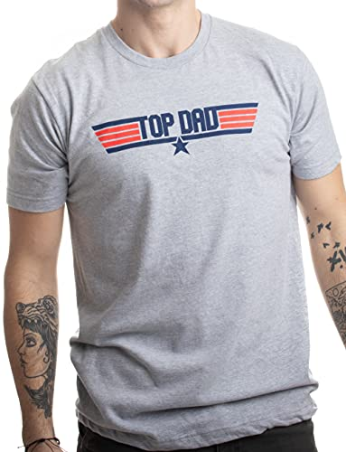 Top Dad | Funny 80s Father Humor Movie Gun 1980s Military Air Force Men T-Shirt-(Adult,L) Heather Grey