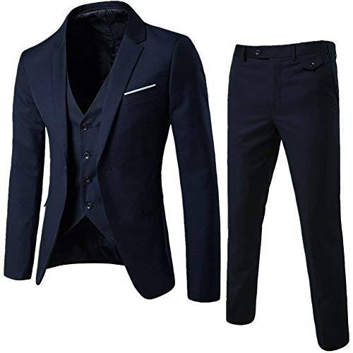 Men's Notch Lapel Modern Fit Suit Blazer Jacket Tux Vest & Trousers Set Three-Piece, Navy, Medium