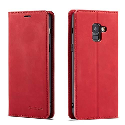 FMPC Coque pour Samsung Galaxy A8 2018, Tenphone Etui Protection Housse Premium PU en Cuir Livre Cover Antichoc Magnétique Portefeuille (Rouge)