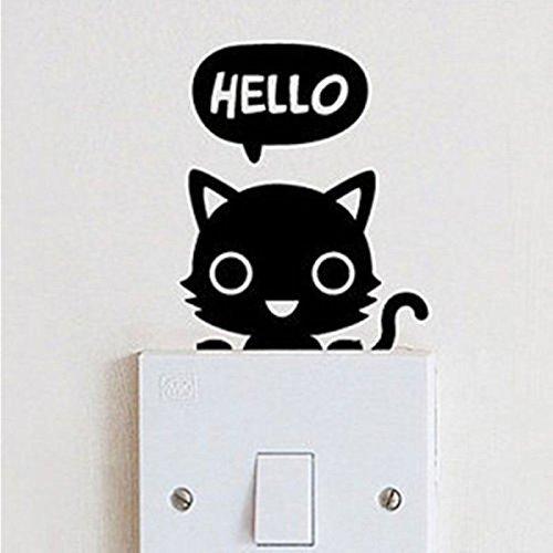 Demarkt Aufkleber Lichtschalter Katze Aufkleber Wand Steckdose Fun Auto Tiere