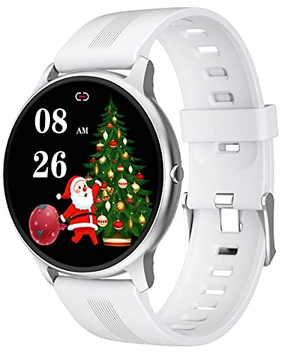 YLB Ultra Thin 1.28'Pantalla táctil Completa Pantalla de Fitness para Android iOS Smart Watch con Ritmo cardíaco Presión Arterial Monitor de oxígeno (Color : White)