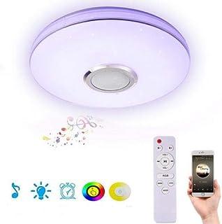waterfaill Lámpara de Techo Smart RGB Lámpara de Techo, Control Remoto Montaje Empotrado Lámpara de Techo Que Cambia de Color con Altavoz Bluetooth, para Dormitorio, Sala de Estar