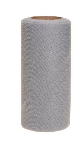 Falk Fabrics Tulle Spool for Decoration, 6-Inch by 25-Yard, Grey