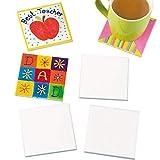 Baker Ross EK3336 Ross Keramik-Kacheluntersetzer zum Basteln (6 Stück) Untersetzer für Kinder zum Basteln