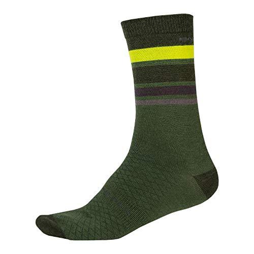 Endura BaaBaa Merino Stripe - Calcetín de ciclismo (talla S/M), color verde