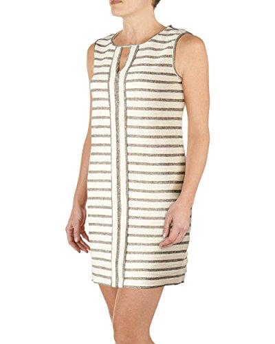 Max Studio - Women's - Gray/Ivory Striped French Terry Shift Tank Dress (Small)