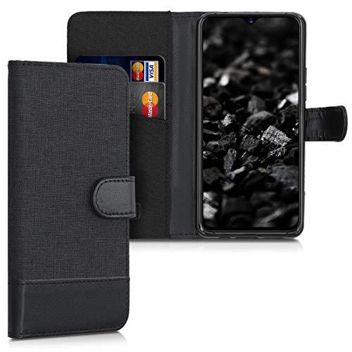 kwmobile Coque Portefeuille Compatible avec Umidigi S3 Pro - Étui à Rabat avec Compartiments Cartes et Fonction Support Anthracite-Noir