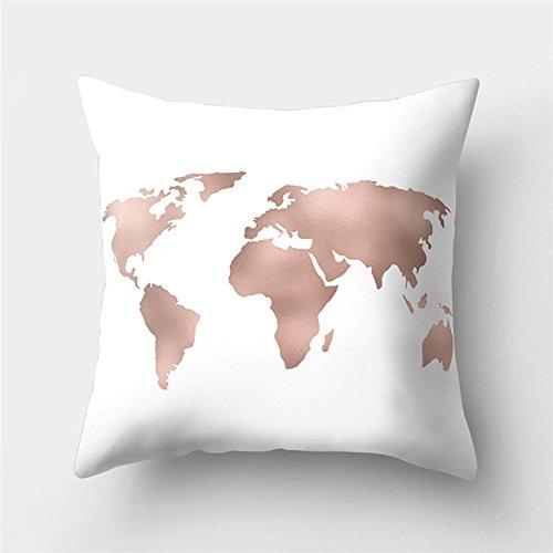 Kissenbezug Kissenbezüge Weltkarte Drucken Deko Kopfkissen-Bezug zum Home Kissen Kissenhülle 1