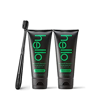 Hello Activated Charcoal with Hemp Seed Oil Epic Whitening Fluoride Free Toothpaste and Toothbrush Farm Grown Mint Vegan SLS Free Gluten Free and Peroxide Free 4 Ounce  Pack of 2