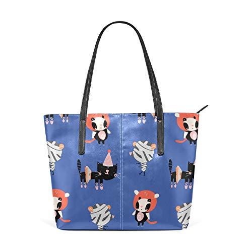 Cartoon-Katzen in Halloween-Kostümen Muster Fashion Leder Tote Schultertasche Handtaschen für Frauen Mädchen