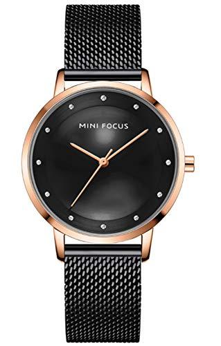 Mira de Las señoras Moda Diamante Reloj Femenino Movimiento japonés Cinturón de Malla Impermeable Reloj Femenino Black