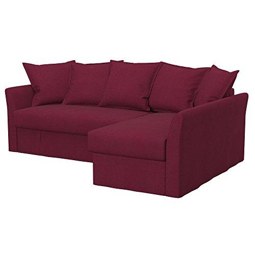 Soferia Fodera di Ricambio per Ikea HOLMSUND Divano Letto angolare, Tela Eco Leather Burgund, Rosso