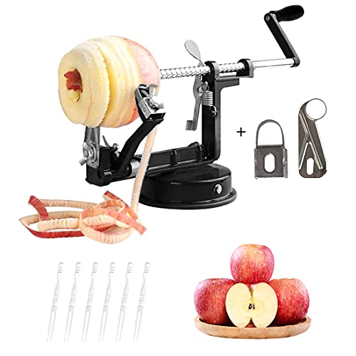 Apple Peeler, 3 in 1 Peeler Slicer Corer with Stainless Steel and Strong Heavy Suction Base for Apple Potato Pear