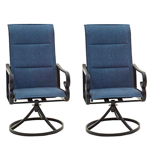 Top Space Patio Dining Chairs High Back Outdoor Swivel Rocker Set with All Weather Frame (Blue,Set of 2)