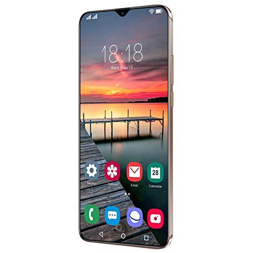 Lite Smartphone, 32 + 50MP Kamera, 4 GB RAM 64 GB ROM Handy, 6,5 '' Full HD + Dual SIM, Gesichtsentsperrung Und Fingerabdruck, Mit Klassischem Kopfhörer,Bronze
