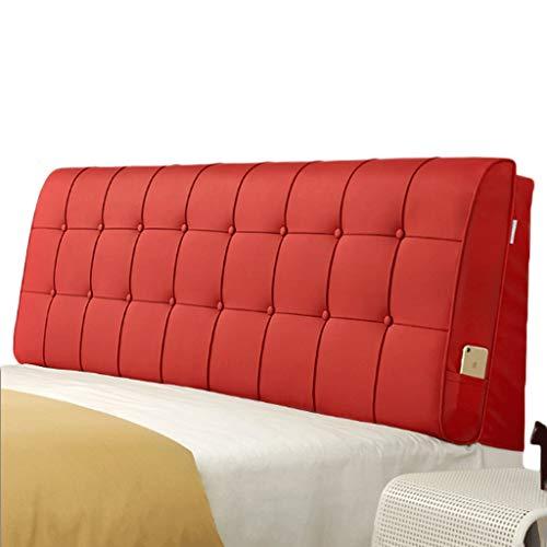 HIGJ Cojín King Size Carpeta de Cama Color sólido Cuero Cabecera Suave Soporte de posicionamiento extraíble (Color : Rojo, Tamaño : with Bedside King Size)